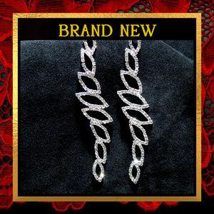 Long Silver Ovals  Rhinestone Earrings   #736